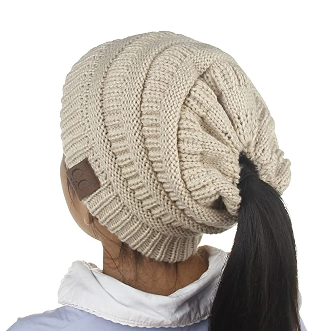 8ddd06711 Girls Beanie Tail Ponytail Winter Warm Stretch Cable Messy High Bun Knit Hat