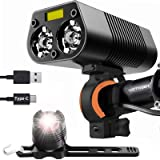 victagen Bike Light Bicycle Light,Super Bright 2400 Lumens Bike Headlight and Back Tail Light Rear Light,Waterproof USB…