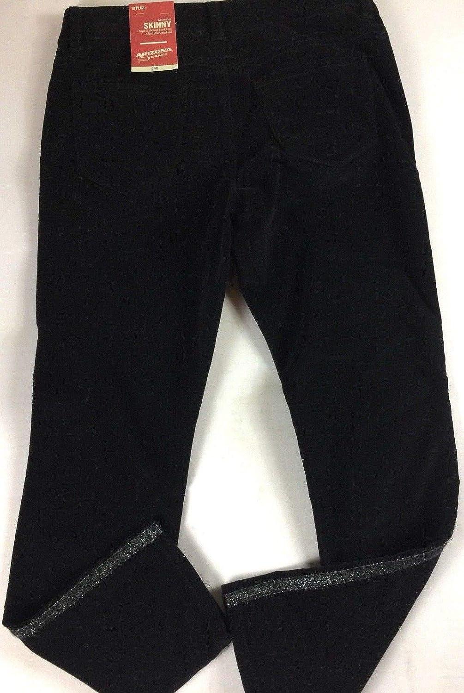 Amazon Com Arizona Jeans Skinny Pants Girls 10 Plus Youth Black Velvet Velour 29 X 26 Actual Clothing