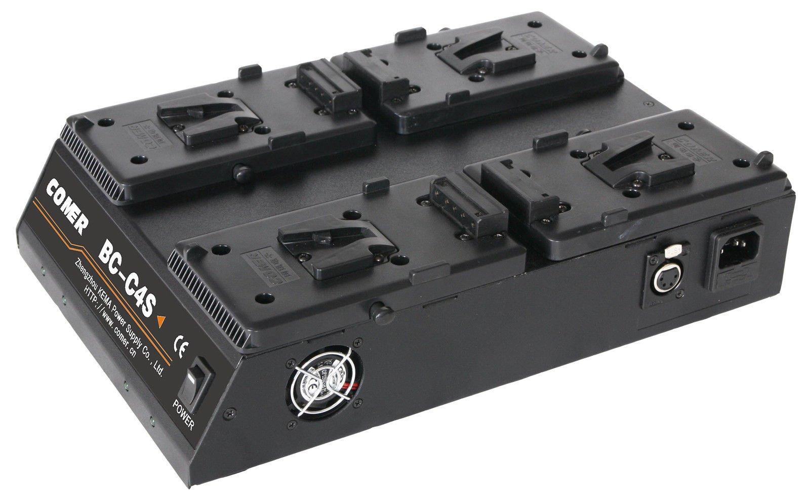 Quad 4-Channel V-Mount/V Lock Battery Charger with 16.8V Power Supply Output