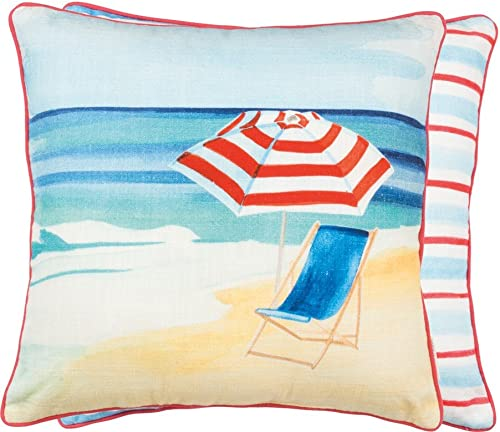 Primitives by Kathy Double-Sided Beach Stripes Cotton Throw Pillow