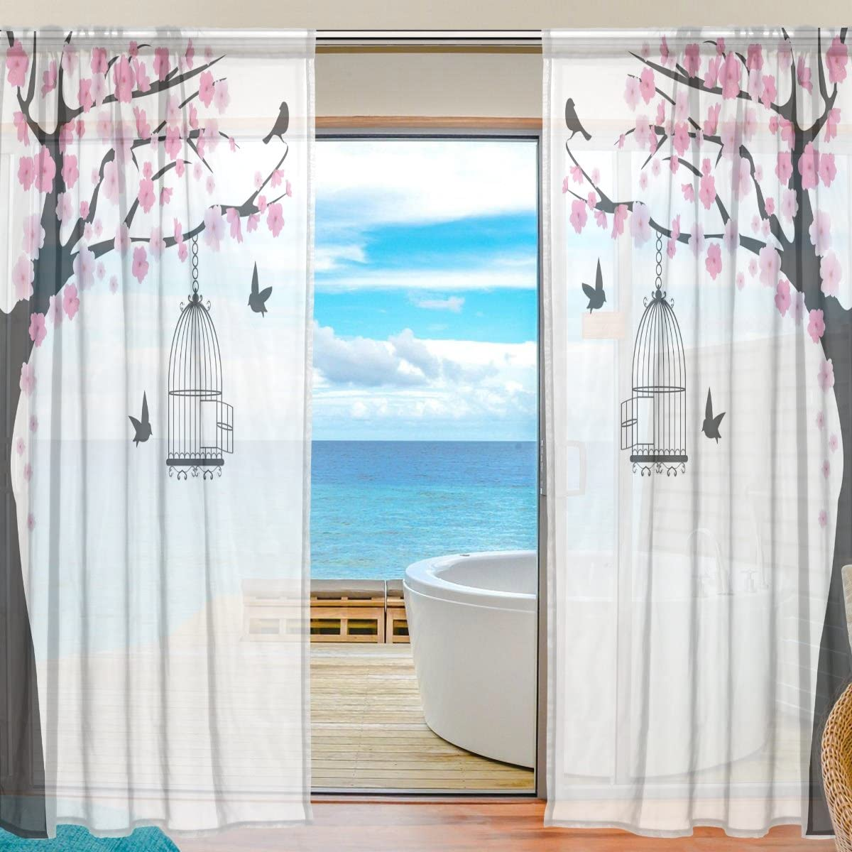 ABLINK Sakura Flower Pattern Birdcage Bird Fabric Sheer Decor Voile Tulle Window Door Curtains for Bedroom Living Room Gauze Curtains Transparent Curtain 55 W X 78 L