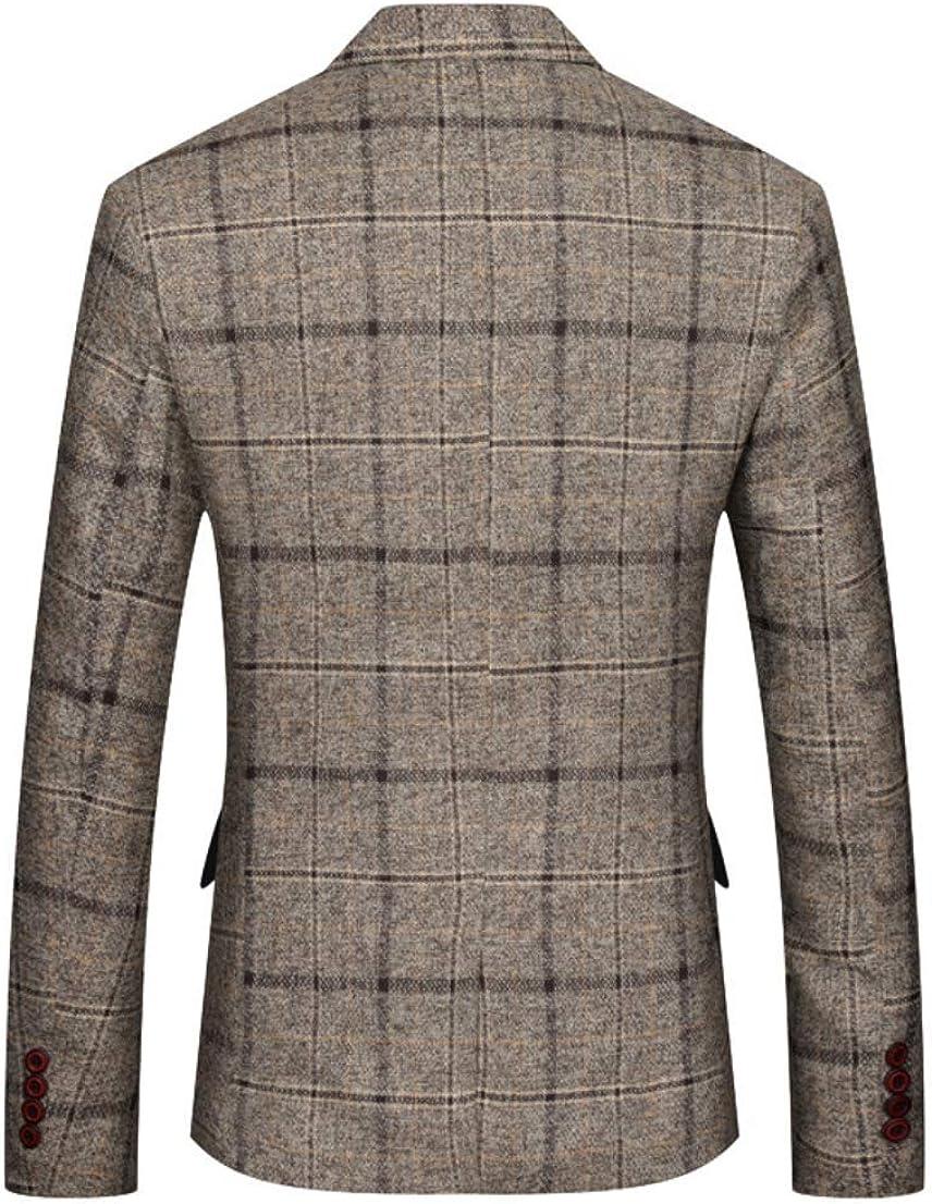 Mens Casual Suit Jacket One Button Slim Fit Plaid Sports Coat Blazer