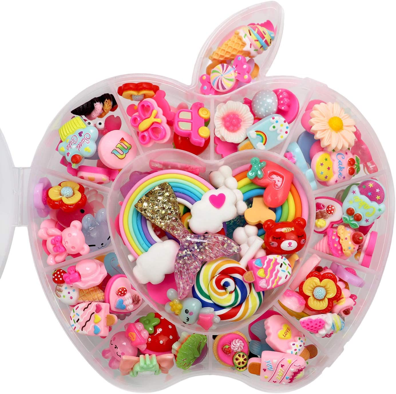 17Tek 100 pcs Slime Charms Cute Set,Resin Flatback Charms and Containers,Mixed Candy Cake Sweets Animal Rainbow for DIY Crafts, Scrapbooking, Craft Decorate Making (Apple Style)