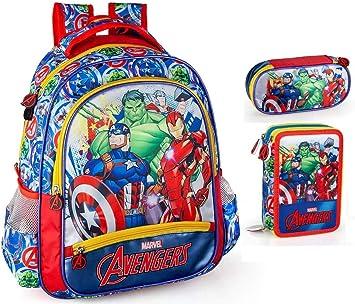 Marvel ́s The Avengers Mochila, estuche y estuche escolar para chico Capitán América Thor Iron Man El increíble Hulk: Amazon.es: Equipaje