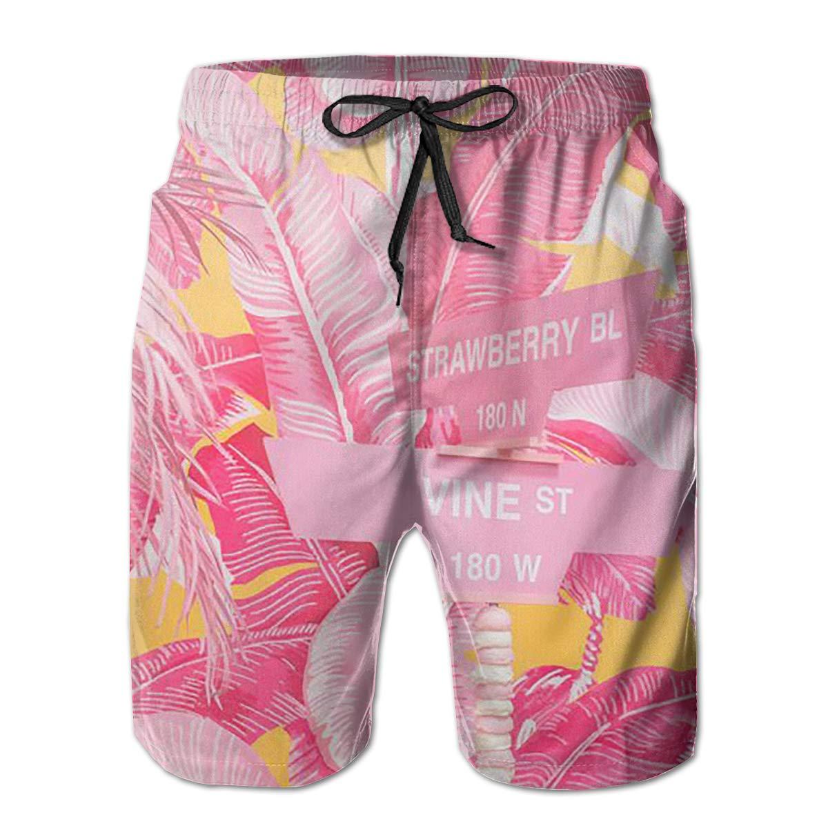 Pink Banana Leaf Funny Swim Trunks Quick Dry Beachwear Sports Running Swim Board Shorts Mesh Lining