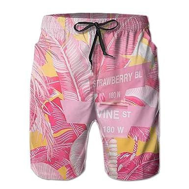c6bea93bec Pink Banana Leaf Funny Summer Quick-Drying Swim Trunks Beach Shorts Cargo  Shorts   Amazon.com