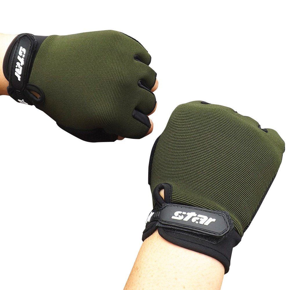 Livoty Cycling Gloves Men Mountain Bike Gym Fitness Sports Antiskid Shock-Absorbing Breathable Half Finger Gloves (L, Army Green)