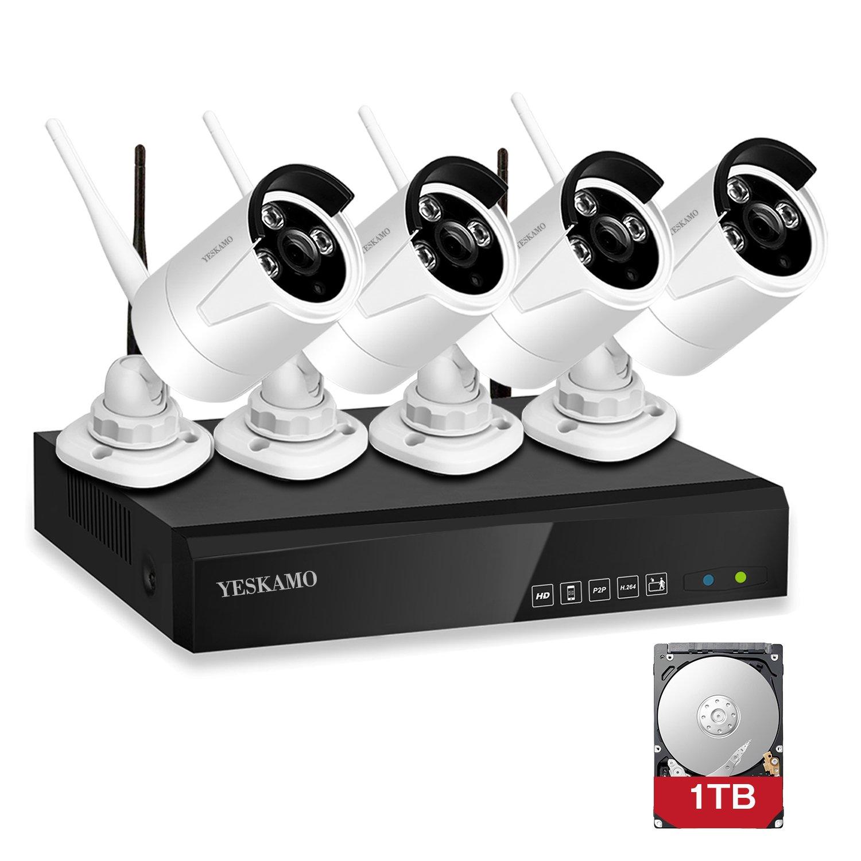 Sistemas de cámaras bala IP de videovigilancia inalámbrica de YESKAMO, 4 canales a 1080P HD, grabadora NVR con 4 unidades, 1,3 MP 960P, 1 TB de disco duro, ...