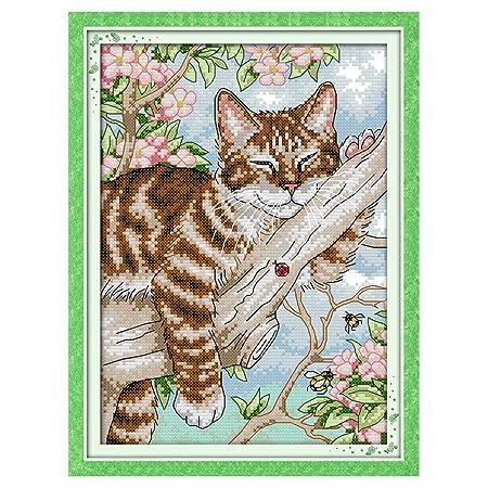 Yanhonin - Kit de punto de cruz, diseño de gato, punto de ...