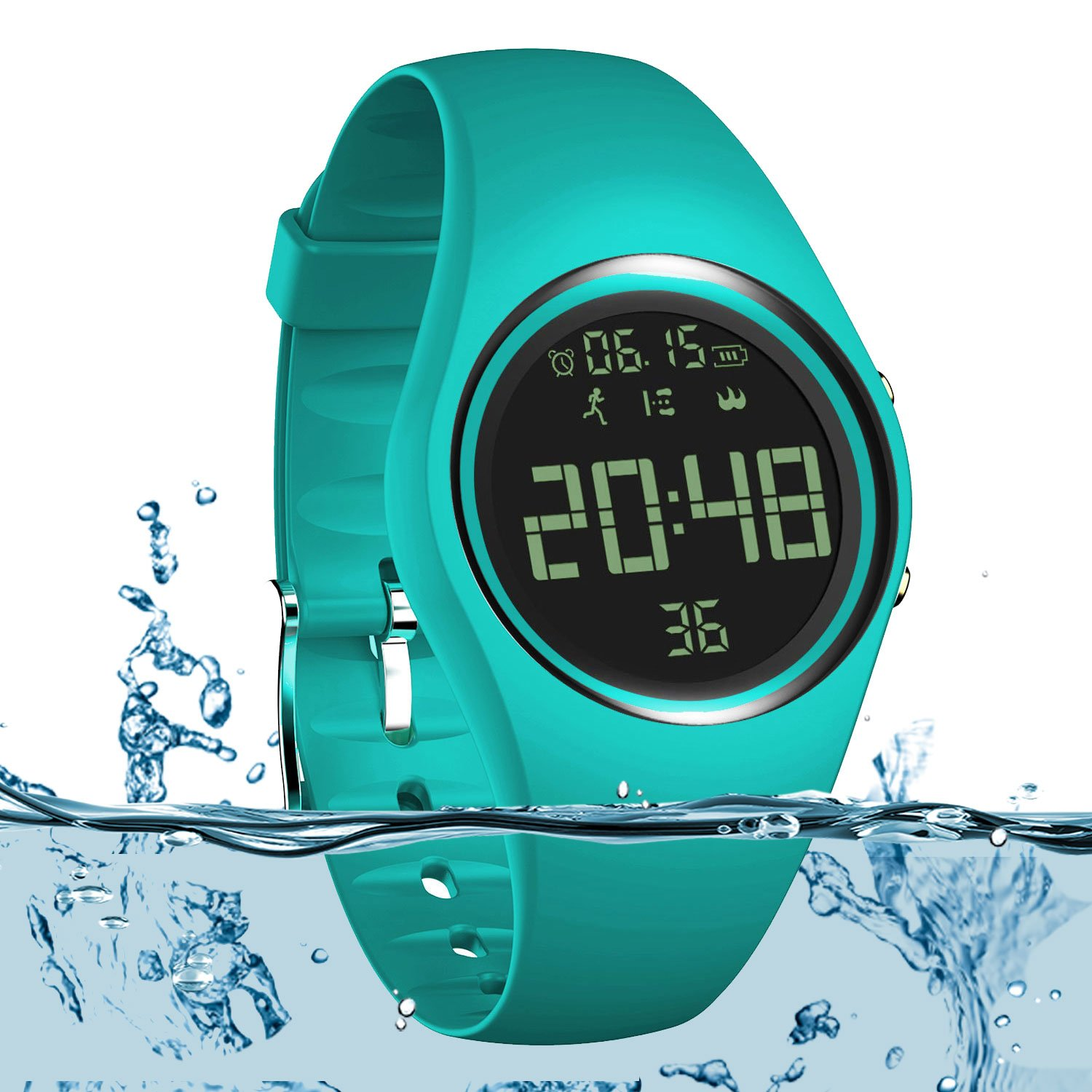 3D Non-Bluetooth Pedometer Watch Sport Wristband IP68 Swimming Water-resistant Fitness Tracker with Accurately Track Steps/Distance/Calorie/Clock/Timer for Walking Running Kids Men Women (Marrs Green)