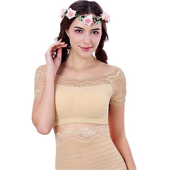 68746215cf8f8 Grab Offers Off Shoulder Blouse Lace Crop Top Women Sexy Bustier Vest Built  In Padded Bra Bralette ...