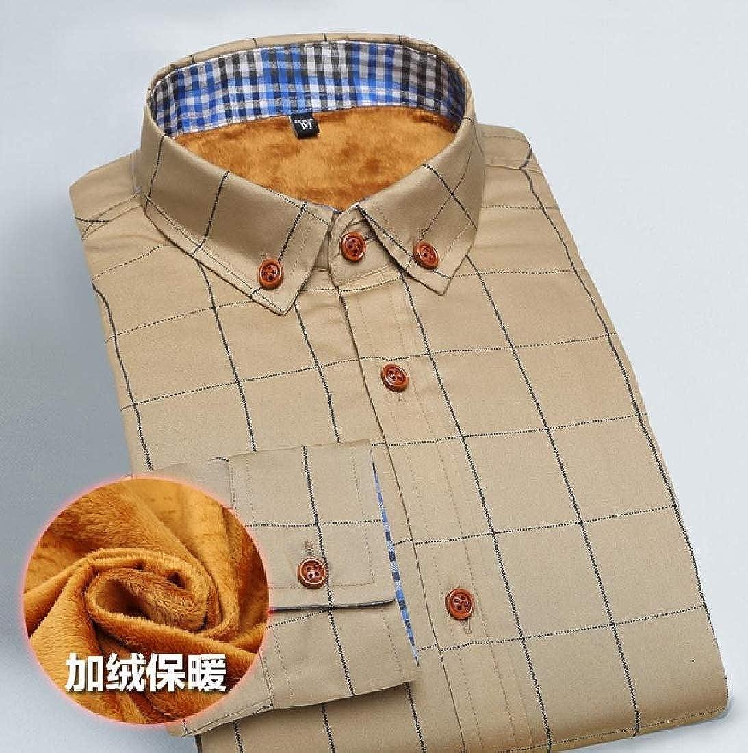 YUNY Mens Long Sleeve Tops Woven Plus Velvet Plaid Button-Down-Shirts Khaki S