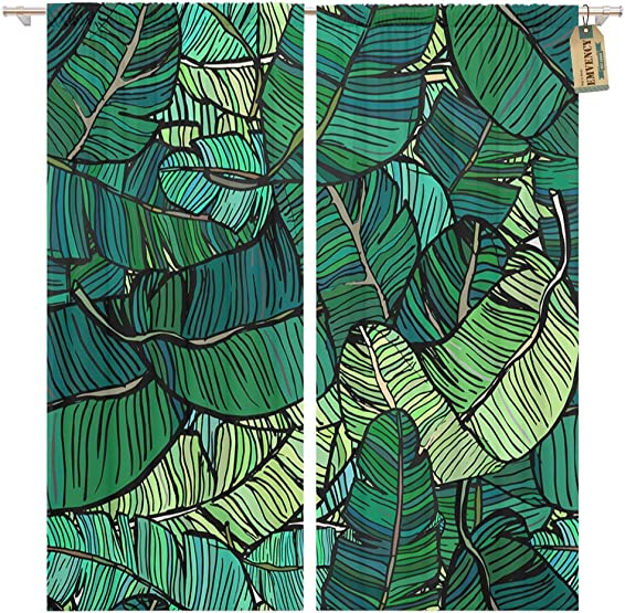 Golee Window Curtain Leaf Banana Tree Leaves Green Colourful Palm Retro Pattern Home Decor Pocket Drapes 2 Panels Curtain 104 x 96 inches