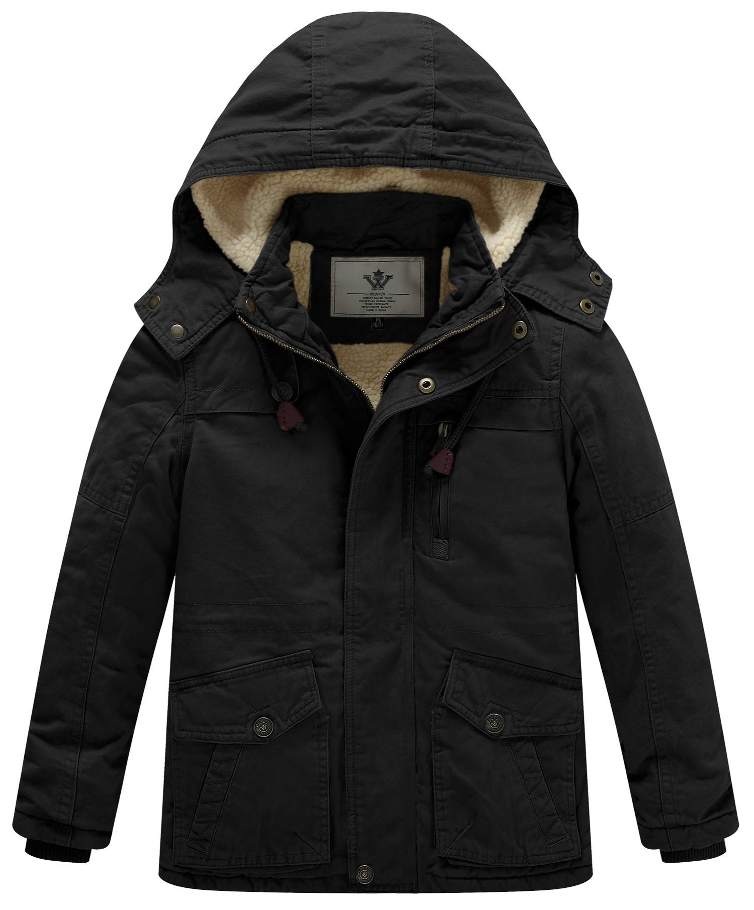 WenVen Boy's and Girl's Cotton Heavy Hooded Parka Coat(Black,X-Small-6-7)