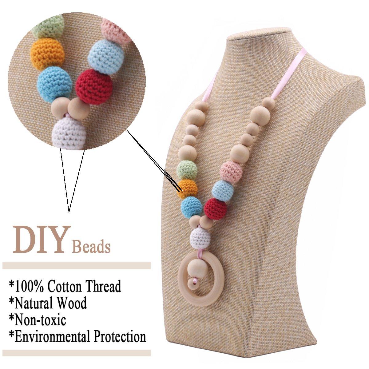 Best for baby H/ölzern Achteckige Perlen DIY Set Elefant Vogel Holzring Armband Schnullerclip Halskette Montessori Spielzeug