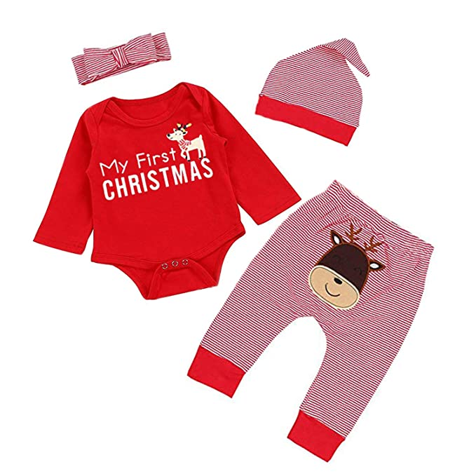 129d6e0e2e071 MAMOWEAR Newborn Baby Girl Christmas Outfits My First Christmas  Romper+Stripe Pants+Hat Headbands 4Pcs Clothes Set (Z Red, 9-12 Months)