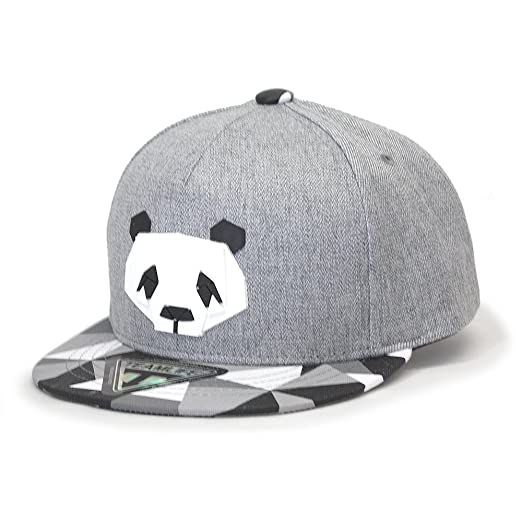 ff467865d3b Animal Sculpture Boys Girls Flat Bill Snapback Baseball Cap (Kids Panda Gray )