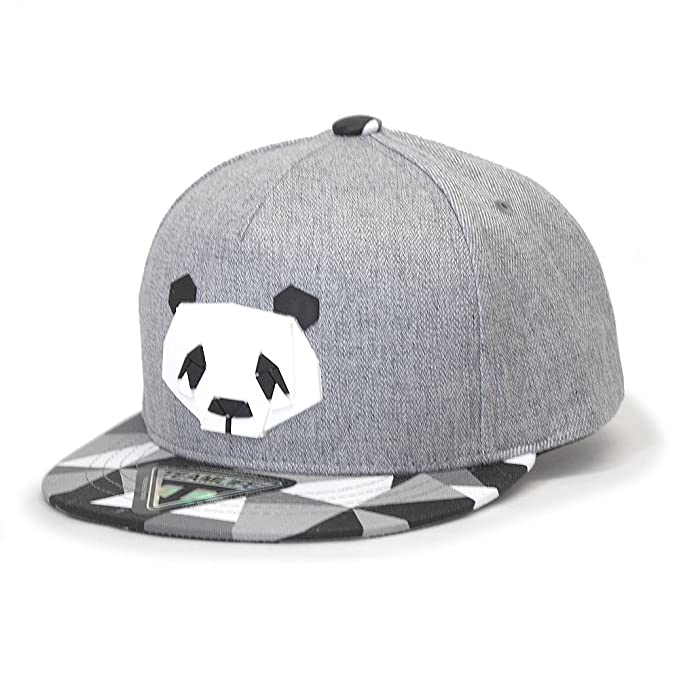 87927f3c30f Animal Sculpture Boys Girls Flat Bill Snapback Baseball Cap (Kids Panda  Gray)