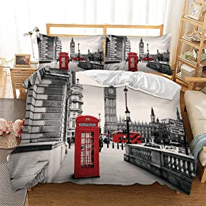 Feelyou Modern Duvet Cover Set King Size, Soft Famous London Themed Red Grey Comforter Cover Set 3 Pieces Bedding Set with 2 Pillow Shams, Zipper, Retro Telephone Booth The Big Ben Symbols