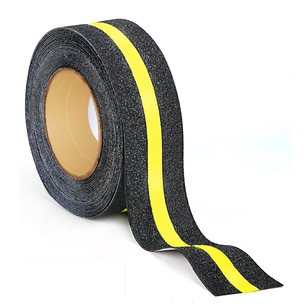 Kyson Non Skid Safety Tape Abrasive Adhesive Reflective Tapes- Anti Slip Warning Stickers for Indoor Outdoor,2 inches by 16.4ft- Yellow