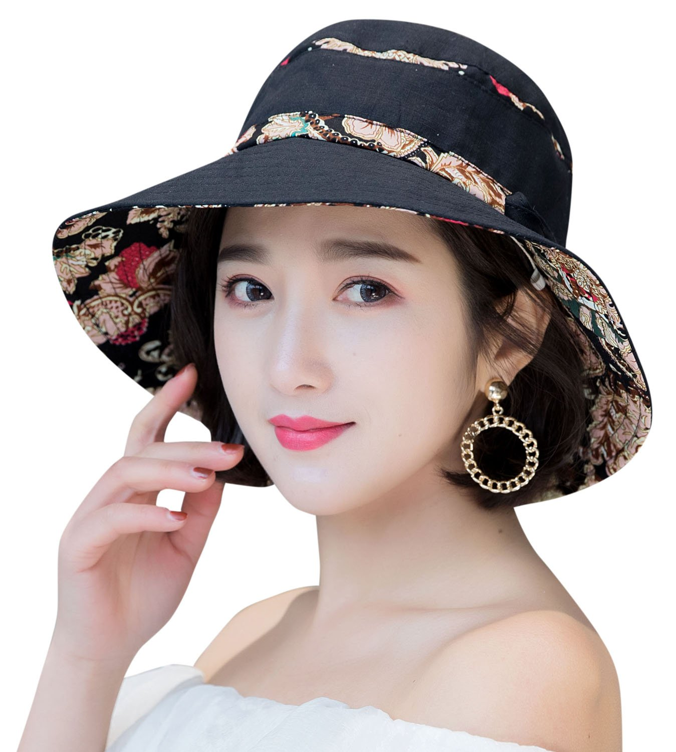 HindaWi Sun Hat Sun Hats for Women Packable Bucket Hat UV Protection Floppy Beach Womens Foldable Caps