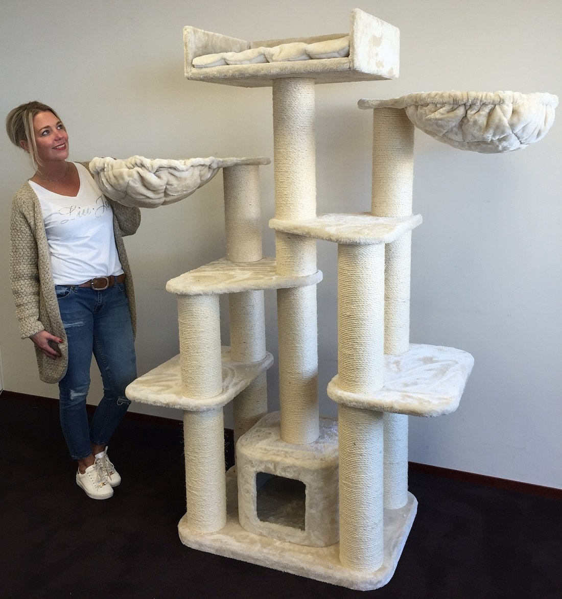 Cat Tree For Large Cats Cat Empire Beige 72 inch high 143 pounds total weight Activity Tree With Scratching Posts Condo House Big Cats Hammock Large Beds Tower Furniture Sale