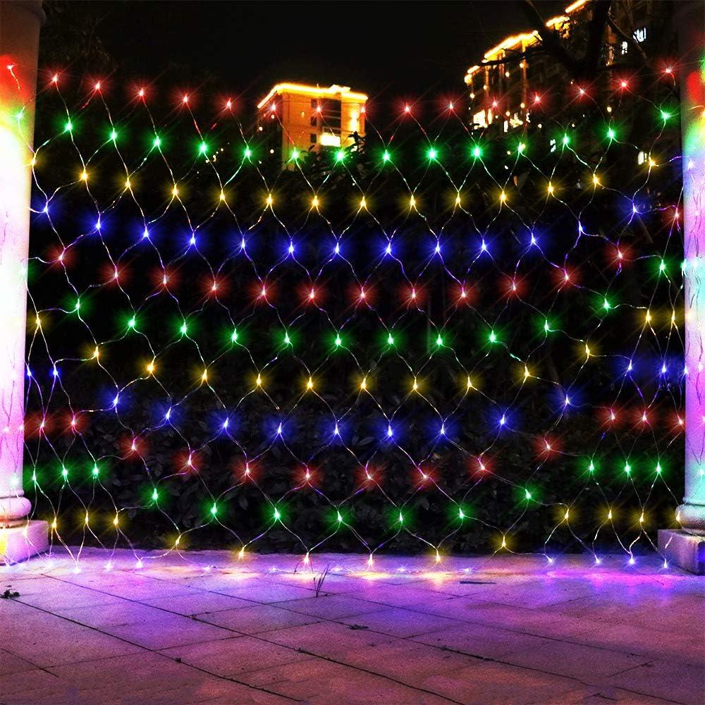 ASmile LED Net Light Mesh Lights, Tree Warp Fairy Lights Outdoor Hanging String Light for Christmas, Halloween, Garden, Walkway, Bushes Decor-9.8ft x 6.6ft(Colorful)