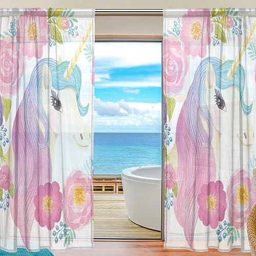 ALAZA Cooper Girl Unicorn Flowers Rose Sheer Window Curtain Panel Drape 55×78 Inch
