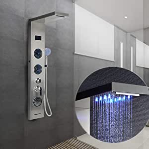 Columna de Ducha, LED Azul, Pantalla LCD, con Ducha de Mano, 5 Modos de Ducha: Amazon.es: Hogar