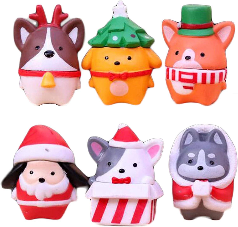 BHLB Pupdoge 6pcs Christmas Corgis Dog Figurines, Corgis Dog Animal Figure Collection Playset Christmas Cake Toppers for Fairy Garden, Dollhouse Miniatures Decoration