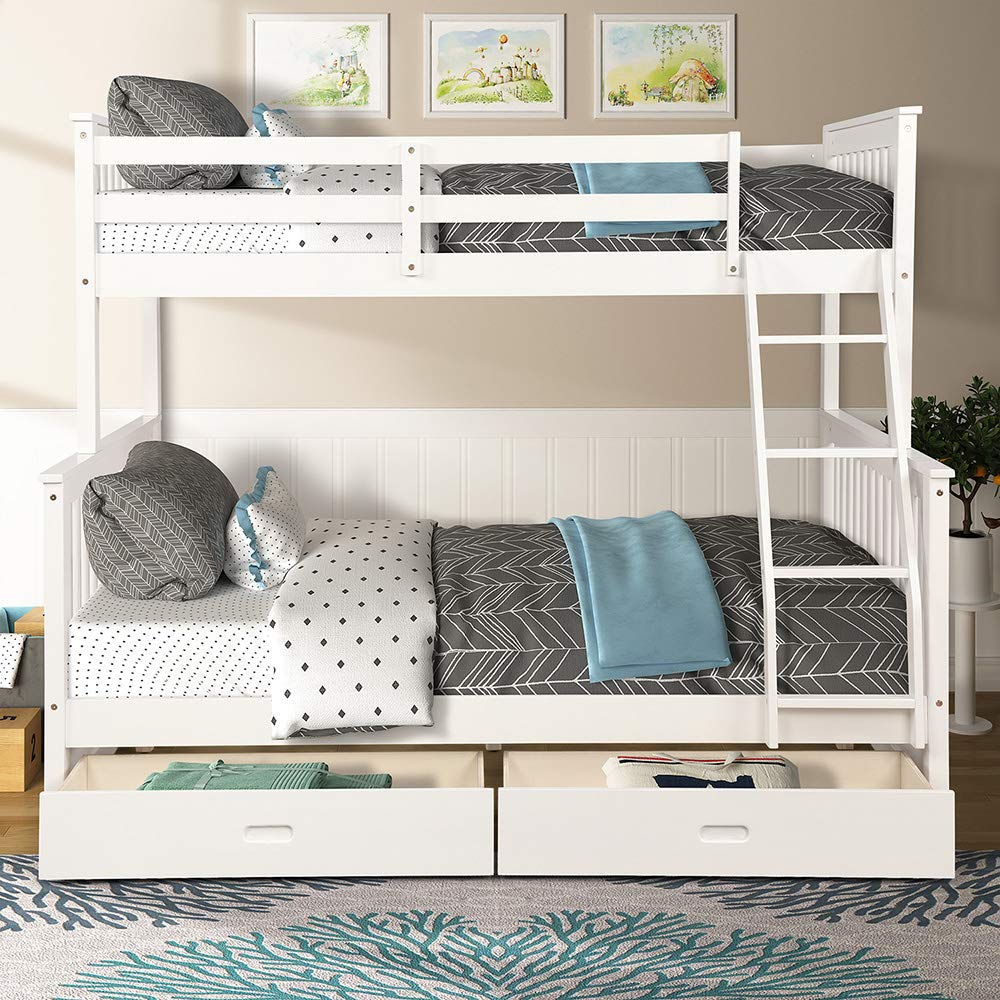 Twin Over Full Bunk Bed, Rockjame Solid Wood Bed Frame with 2 Under Bed Storage Drawers, Safety Guard Rail and Ladder, Convertible to 2 Separated Beds, Perfect for Kids, Teens and Adults White