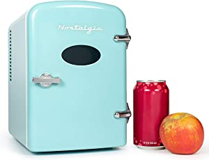 Nostalgia RF6RRAQ Retro 6-Can Personal Cooling and Heating Refrigerator with Carry Handle for Home Office, Car, Boat or Dorm Room - Includes AC/DC Power Cords, Aqua