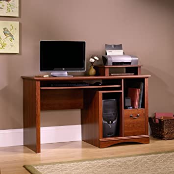 sauder camden county computer desk planked cherry finish