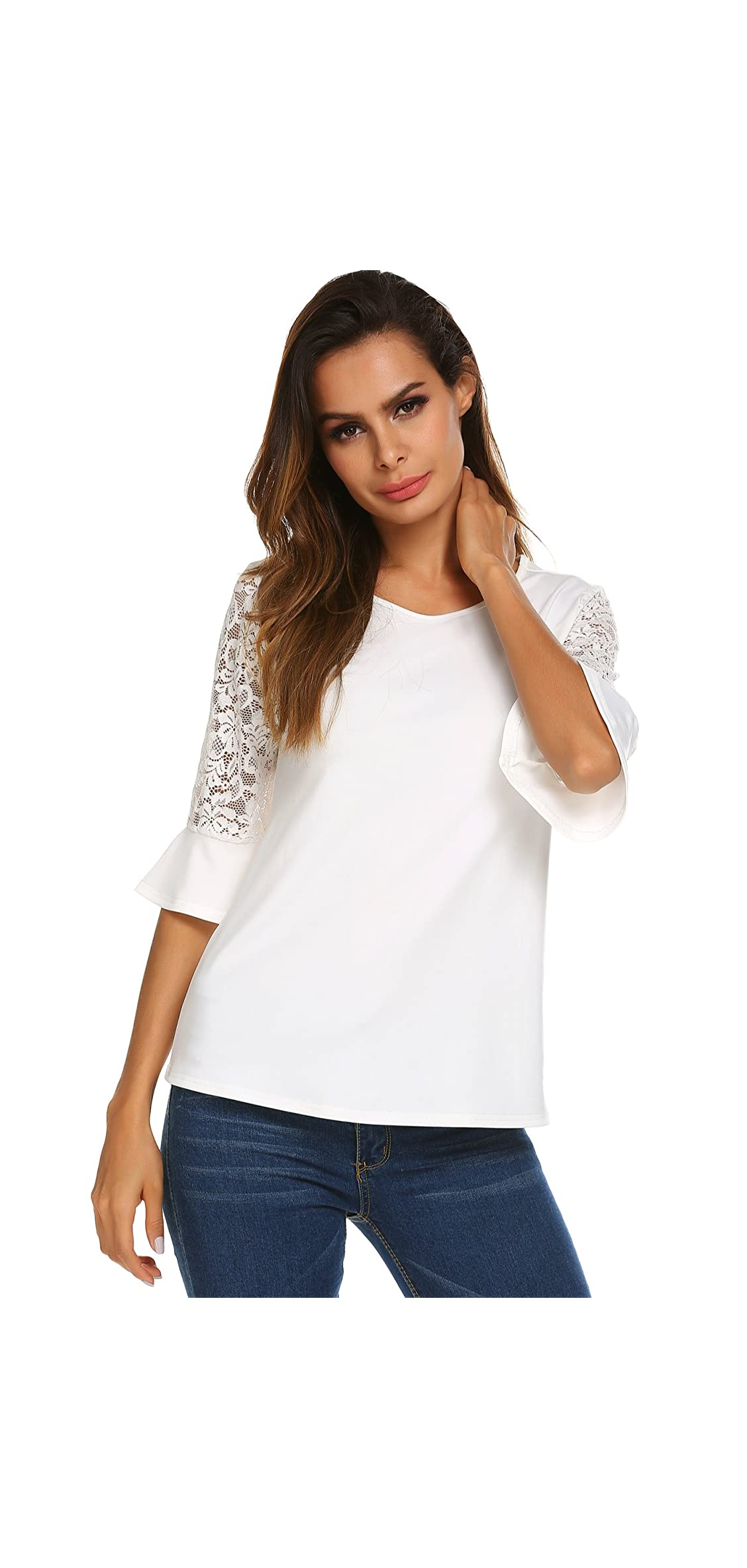 / Sleeve Shirts For Women Womens Lace Tops Round Neck