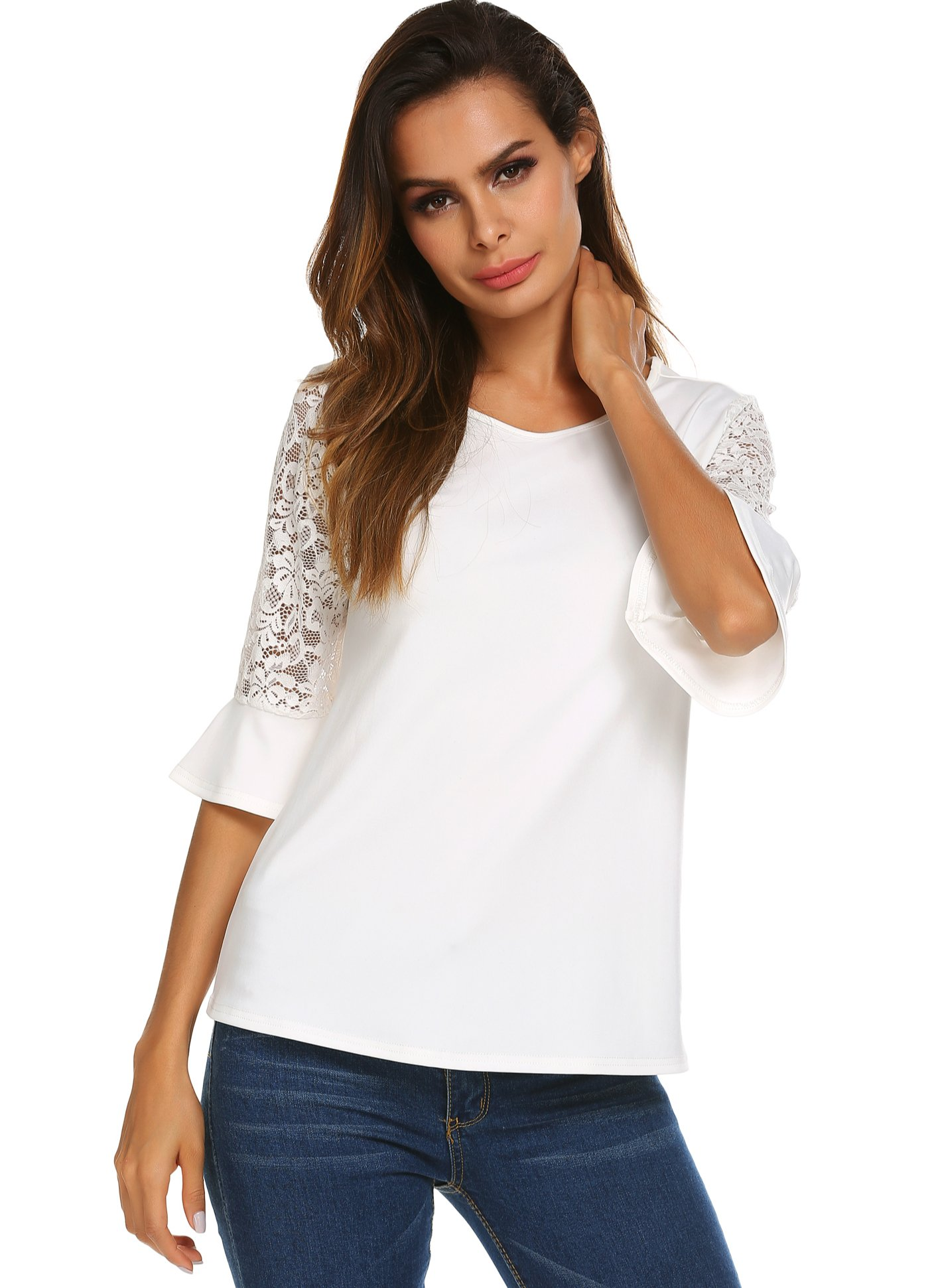 Yayado Women's 3/4 Lace Bell Sleeve Round Neck Solid Summer T-Shirt Tops Blouse, White, Medium