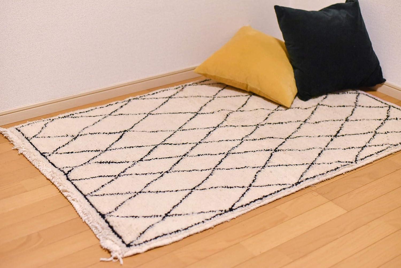 ベニワレン ラグ モロッコ製ハンドメイド 150cm×97cm 希少なベビーキャメル100%絨毯   B07KNKF96F