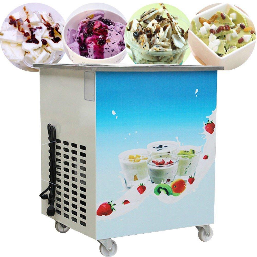 Enshey Fried Yogurt Machine-Single Round Pan Fried Ice Cream Roll Machine, Commercial, Ice Cream Maker 110V