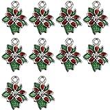 Lot de 10pcs Pendentif en Alliage Forme de Fleur de Noël pour Fabrication de Bijoux