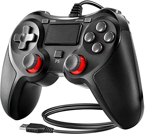 Powcan Controlador de PS4 Controlador con cable para Playstation 4 Gamepad de joystick de vibración dual