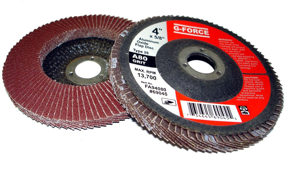 Griton FA94080 Industrial Type 29 Abrasive Flap Disc, 4'' Diameter, 5/8'' Arbor, 80 Grit Aluminum Oxide (Pack of 10)