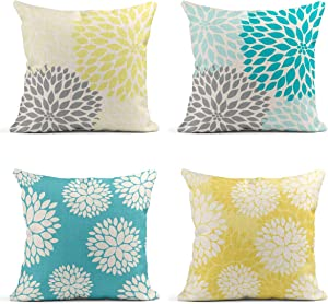 Tarolo Yellow and Gray Pastel Blue and Gray Trendy White Floral On Teal Turquoise Aqua Blue Lemon Yellow Floral Dahlia Linen Throw Pillow Cover Case 16x16 inches Set of 4 Square Pillowcases