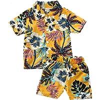 I3CKIZCE Conjunto de ropa para bebés y niños, manga corta, estilo bohemio, con botones, blusa y pantalones cortos, 2…