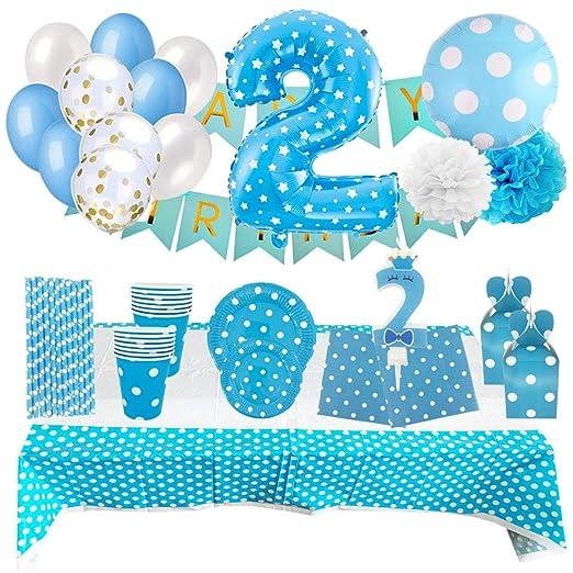 Set de Artículos Accesorios Completo para Decoración Fiestas Cumpleaños Bebé Lote Sirve 16 Invitados (Niño de 2 años)