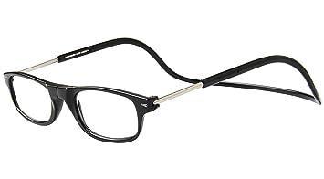 186e489867 TBOC Reading Glasses Eyeglasses Eyewear - Black Frame +2.50 Optical Power  Magnetic Clip Adjustable Neck