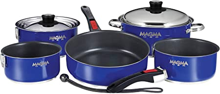 Magma Products, A10-366-CB-2 Gourmet Nesting Stainless Steel Cookware Set with Non-Stick Ceramica 10 Piece , Cobalt Blue