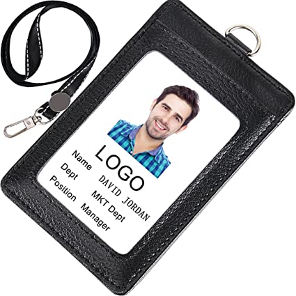 amazon com acctrend badge holder leather id badge with lanyard 3