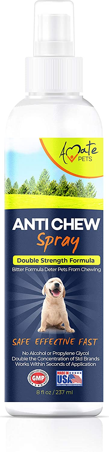 Anti Chew Spray for Dogs - Dog and Puppy Training Spray Double Strength Bitter Taste Deterrent- No Alcohol, Suitable for Furniture, Clothes, Carpet, Phone Chargers, Cables etc - by Amate Pets