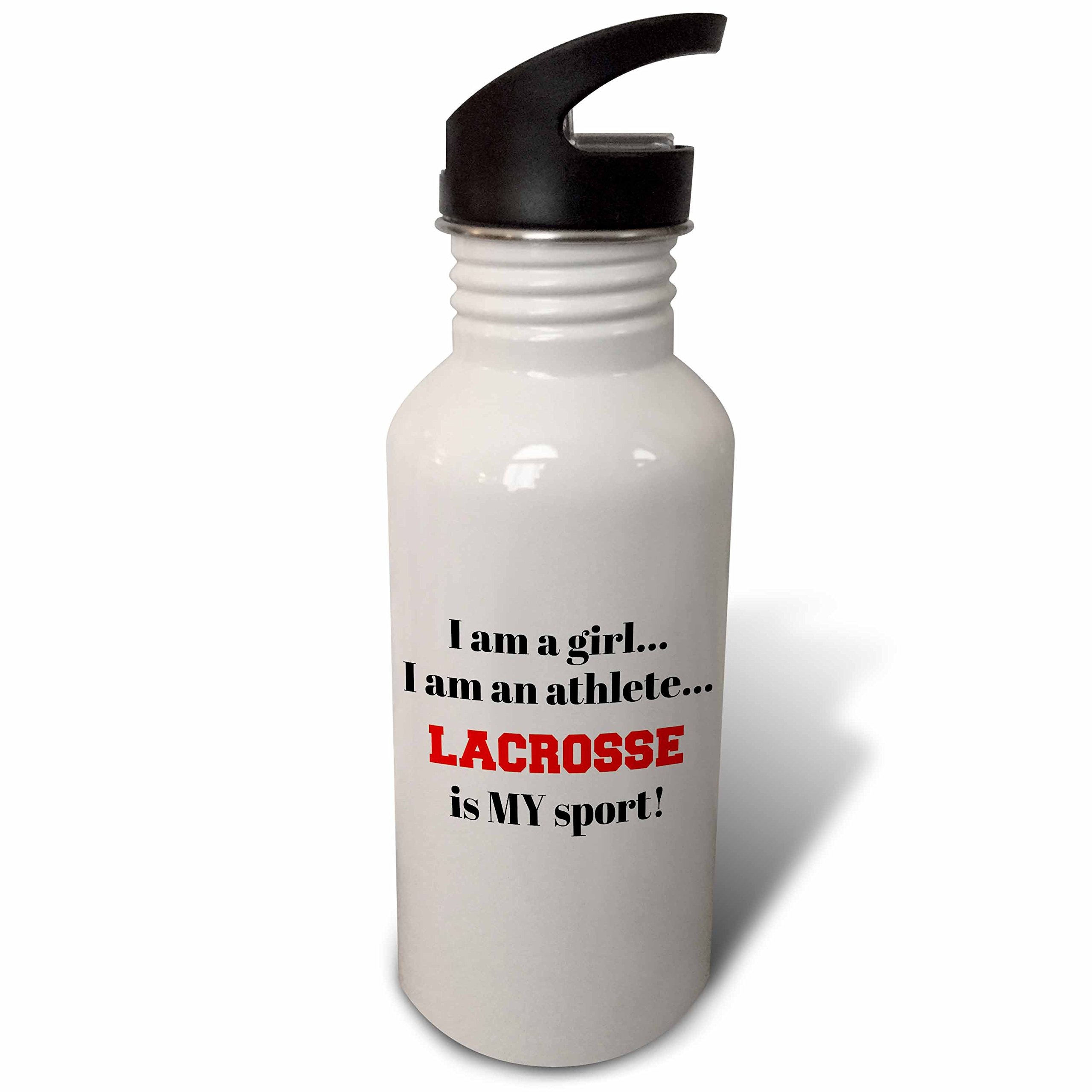 3dRose Xander inspirational quotes - I am a girl, I am an athlete, lacrosse is my sport, black red letters - Flip Straw 21oz Water Bottle (wb_265931_2)
