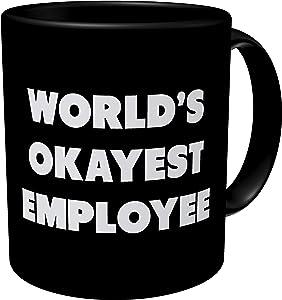 Aviento Black Word's Okayest Employee, Office, Boss 11 Ounces Funny Coffee Mug